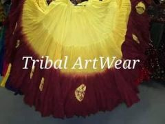 DIP DYED GOLD&BURGUNDY DOUBLE Dip Dyed Tribal Bellydance ATS®Tribal Gypsy Skirts