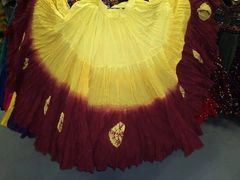 GOLD&BURGUNDY DIP DYED ATS®TRIBAL BELLYDANCE GYPSY MULTI COLORED TRIBAL SKIRT