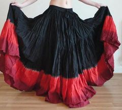 BLACK RED TRIPLE DIP DYED Tribal Bellydance Gypsy ATS Skirt
