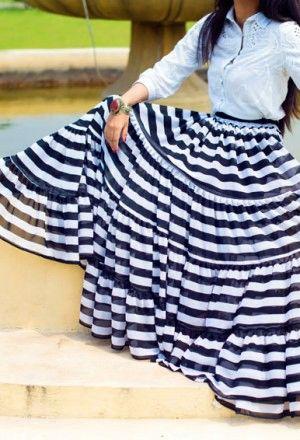 BLACK&WHITE STRIPED Steampunk PIRATE Tribal ATS Stripe Gypsy ATS®Tribal Skirt