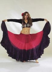 RED BURG BLACK DIP DYED ATS®TRIPLE Dip-Dyed Tribal Bellydance ATS®Tribal Gypsy Skirts