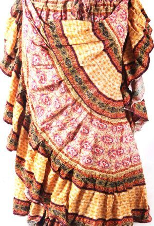 PALE YELLOW DURGA PAISLEY Tribal Bellydance Kuchi Gypsy ATS® Skirt