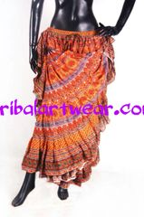 ORANGE VIOLET DURGA Tribal Bellydance Kuchi Gypsy ATS® Skirt