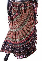 BLOCK PRINT EARTHY PAISLEY Tribal Bellydance Tribal ATS Gypsy Skirts