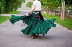 EMERALD GREEN POLKA DOT ATS®TRIBAL GYPSY POLKA DOT TRIBAL SKIRTS