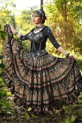 NEW!!ATS bLACK gOLD pEACOCK Tribal Bellydance Tribal ATS Gypsy Skirts