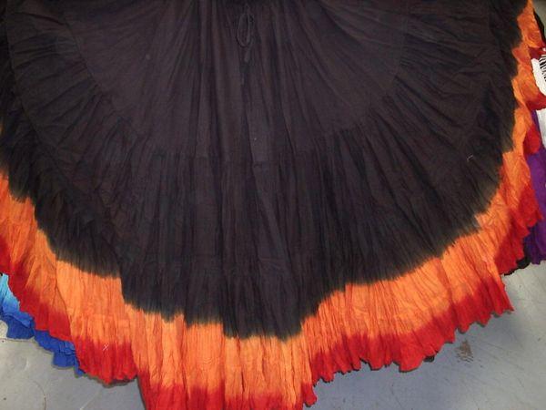 BLACK&ORANGE DIP DYED ATS®Triple Dip-Dyed Tribal Bellydance Gypsy Skirt