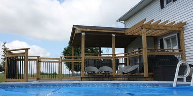 Deck Design Build around an above ground pool with pergola