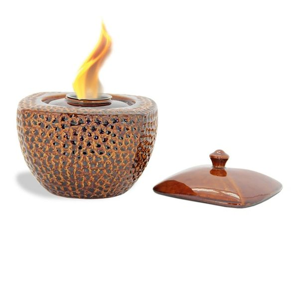 "9"" Diameter X 8"" High ""Brown"" Round/Square FlamePot"