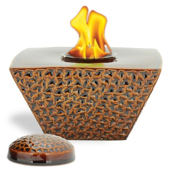 """8"""" Brown Taper FlamePot with Lid"""