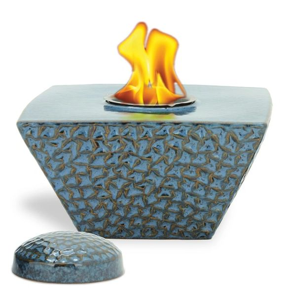 "8"" Blue Taper FlamePot with Lid"