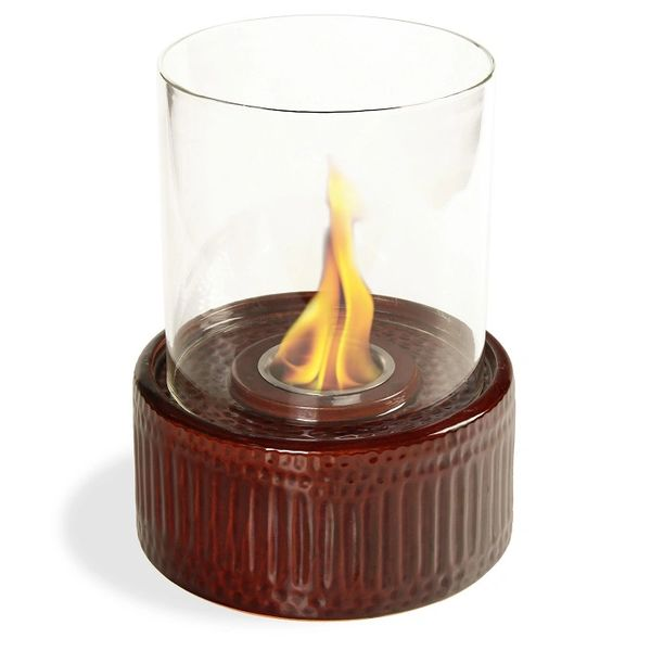 "12"" High X 8"" Diameter Brown Base/Glass Fireplace"
