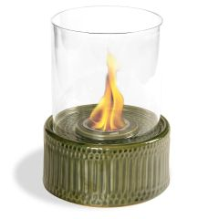 "12"" High X 8"" Diameter Green Base/Glass Fireplace"