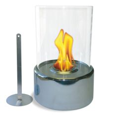 "12"" High X 8"" Diameter Chrome Base/Glass Fireplace"