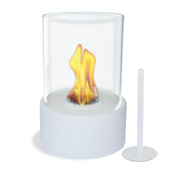 "12"" High X 8"" Diameter White Base/Glass Fireplace"