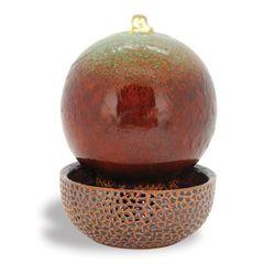 "11"" High X 8"" Diameter Green/Brown Globe LED Fountain"
