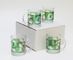 4 Pack GOLF Mugs Clear Glass
