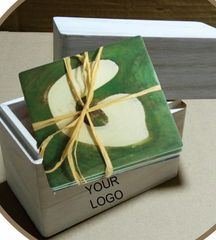 Wooden Boxed Sandstone Coaster set, GOLF