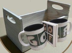 Wooden Tray 2-Mugs 2-Coaster GOLF Gift Set