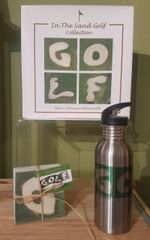 GOlf Book GOLF Water Bottle and G,O,L,F Coasters