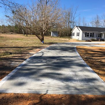 Broom finished concrete driveway