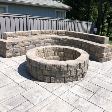 Retaining block seating wall and fire ring