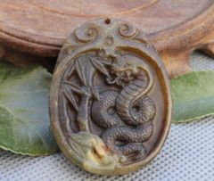 Carved Stone Pendant of Coiled Snake