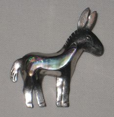 Donkey Brooch - VINTAGE - Sterling Silver with Abalone Inlay