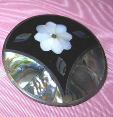 Vintage Mother of Pearl/Abalone Inlay Brooch/Pendant - Mexico, 1960s