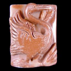Carved Jasper Pendant of a Flamingo!