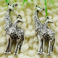 Tibetan Silver Charm/Pendant of Giraffe and Baby