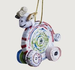 Sheep Ornament, Handcrafted from Recycled Paper
