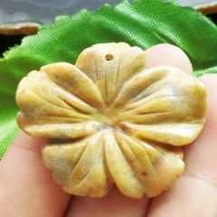 Pendant/Bead of Crazy Lace Agate, Carved, In Shape of a Hibiscus Flower