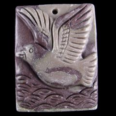Hand Carved Jasper Pendant of a Sea Bird Over Waves