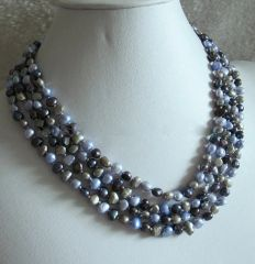 "72"" Strand of Freshwater Pearls in Silver and Gray"