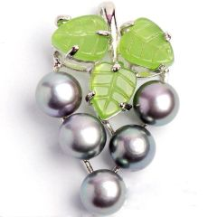 """Freshwater Pearl """"Grape Cluster"""" Pendant/Necklace - Black"""