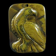 Hand Carved Yellow Turquoise/Jasper Pendant of an Eagle