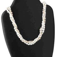 Three Strand Freshwater Rice Pearl Necklace, Mauve and White