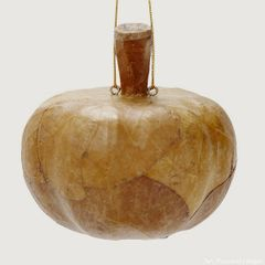 Wood and Kupu'Kupu Leaf Pumpkin Ornament