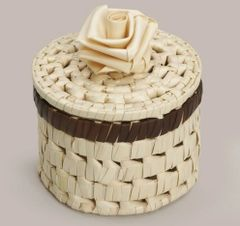Woven Palm Leaf Box, Rose Lid