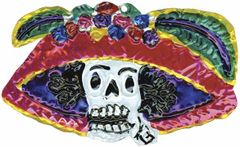 Mexican Painted Tin Ornament of Catrina (Day of the Dead!)