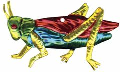Painted Mexican Tin Ornament of a Grasshopper