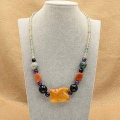 Necklace of Yellow Aventurine, Fluorite, Amethyst and Jasper