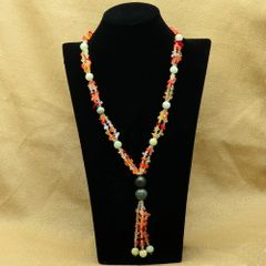 Tassled Necklace of Orange Agate, Serpentine and Glass.