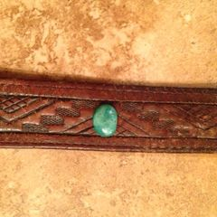 Leather Bracelet With Authentic Turquoise Stud