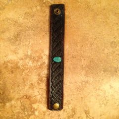 Leather Bracelet With Authentic Turquoise Stud, Espresso Brown