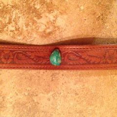 Leather Bracelet With Turquoise Stud, Golden Brown