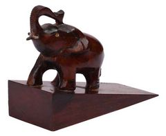 Hand-Carved Elephant Door Stopper