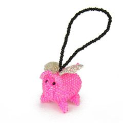 Beaded Pig-With-Wings Ornament