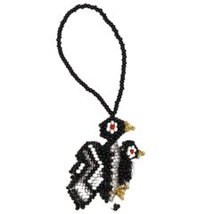 Hand Beaded Penguin-With-Baby Ornament